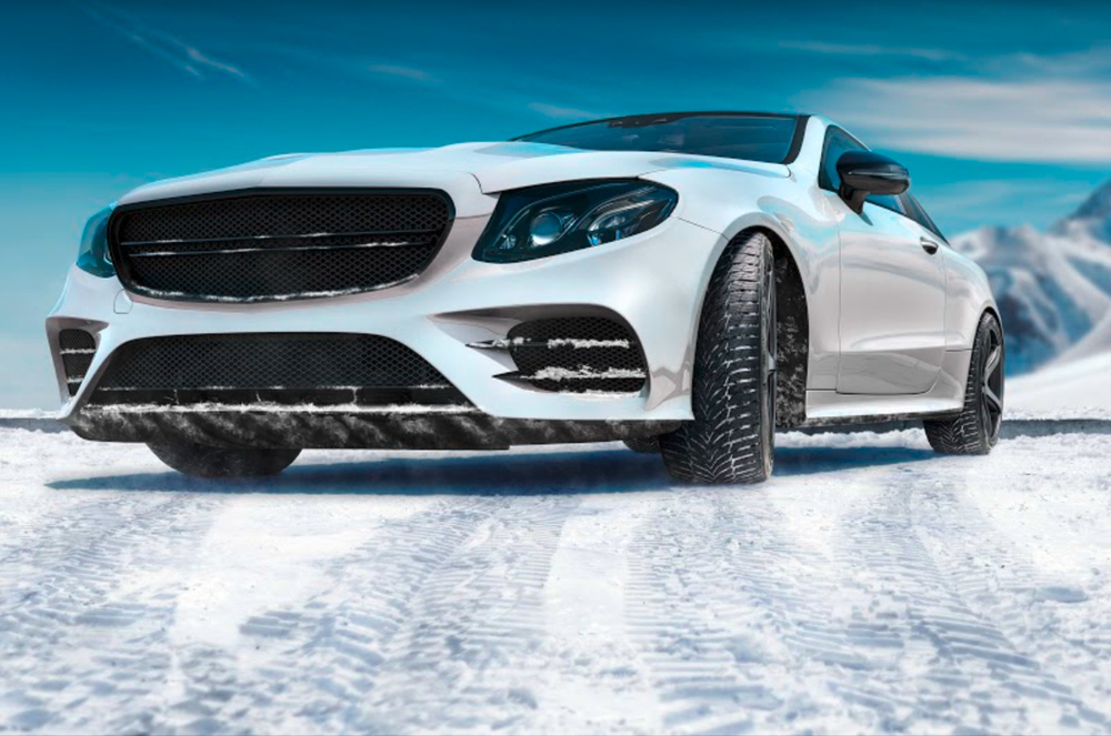 Auto s pneu Nexen na sněhu