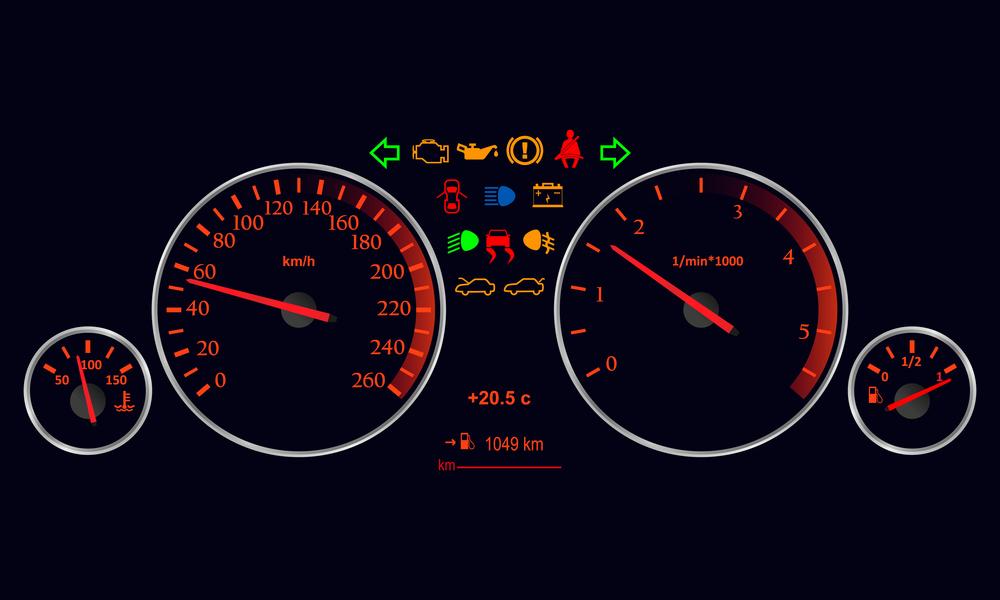 Kontrolky na palubní desce v autě